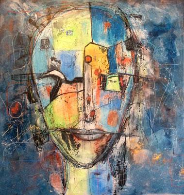 Mit allen Sinnen Mischtechnik auf Leinwand 100 x 100 cm/ Expressive Malerei/Grafik