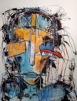 Love myself/ Mischtechnik auf Papier /Expressive Grafik 50 x 65 cm