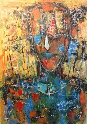 Ich schreib dir meine Gedanken/ 50 x 70 cm /Ölpastel und Acryl