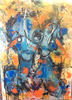 Wir teilen den Augenblick/50 x 70 cm/ Acryl und Ölpastel/Mischtechnik auf Leinwand