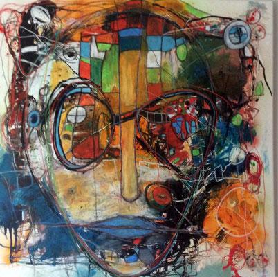 Mit der Stadt verbunden 100 x 100 cm  / Expressive Malerei/Grafik