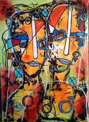 Simply Human/ 50 x 70 cm/ Acryl und Ölpastel/Mischtechnik auf Leinwand (verkauft)