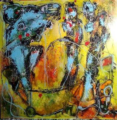 Weltenbummler /Mischtechnik auf Leinwand 50 x 50 cm (verkauft)