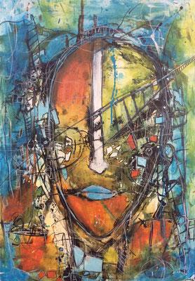 Bridge over chaotic life/ Acrly und Ölpastell auf Leinwand 50 x 70 cm