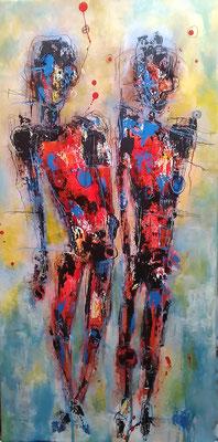 Dance yourself free/ Mischtechnik auf Leinwand 30 x 60 cm