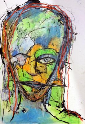 Kopf aus der Reihe Fragil Mischtechnik auf Pappe 20 x 30 cm/Expressive Grafik