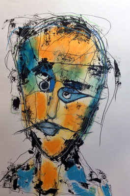 Kopf aus der Reihe Fragil Mischtechnik auf Papier 50 x 65 cm/Expressive Grafik