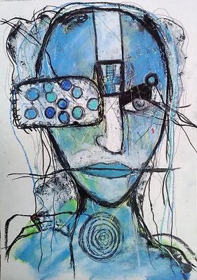 Blaues Gesicht/ 20 x 30 cm/Mischtechnik auf Papier