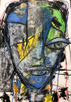 Kopf aus der Reihe Fragil Mischtechnik auf Pappe 20 x 30 cm/Expressive Grafik (verkauft)