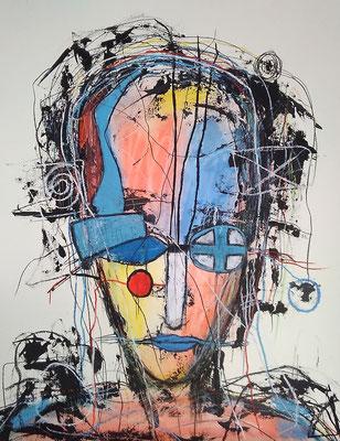 Red Dot/ Mischtechnik auf Papier /Expressive Grafik 50 x 65 cm (verkauft)