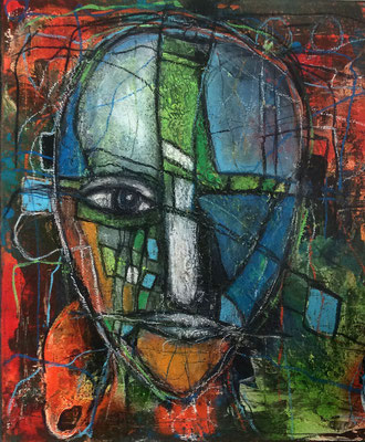 Querdenker Mischtechnik auf Leinwand 50 x 50 cm/ Expressive Malerei/Grafik (verkauft)