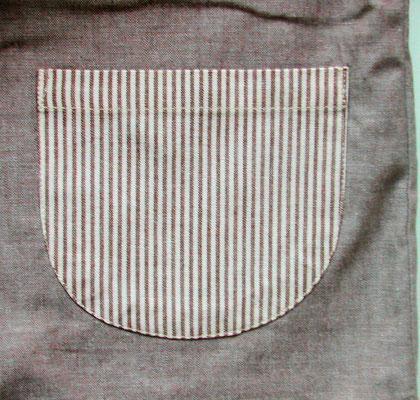 先染めストライプ(ブラウン系)のポケット