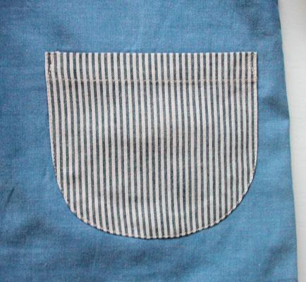 先染めストライプ(ブルー系)のポケット
