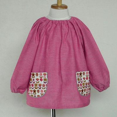 ピンク系シャンブレー+お花柄ポケットのスモック