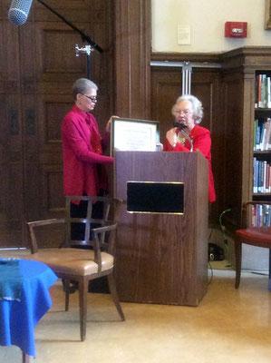 Peggy receiving Award