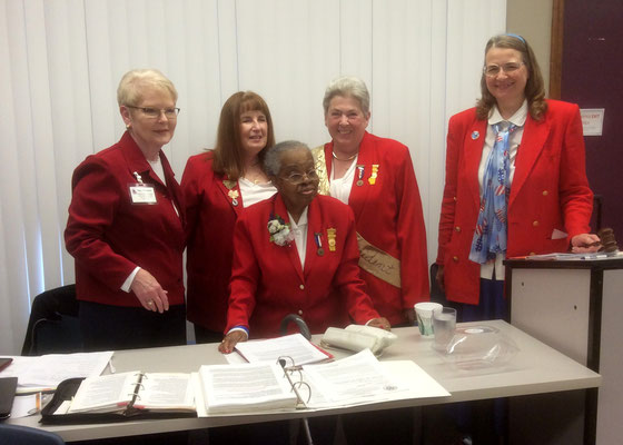 Left to right: Tent 3 President Nancy Skerchock, Past Department President Bethany Hoover, Past National President Celestine Hollings, Current National President Sally Redinger and Current Department President Cynthia VanAntwerp