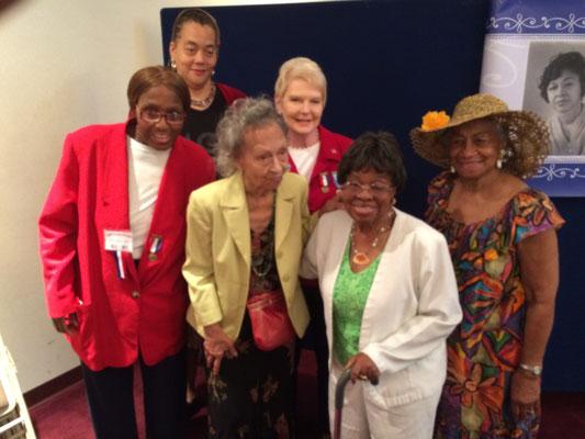 The group picture is of (left to right) Tanya Jordan-Jackson, Jocelyn Bush, Ada Lee Maxwell, Nancy M. Skerchock, Celestine Hollings, Maggie Farris.