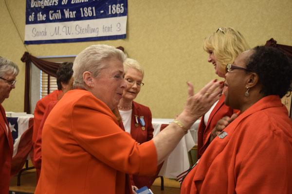 PNP Sally Redinger congratulates new Tent 3 member Yulanda Burgess