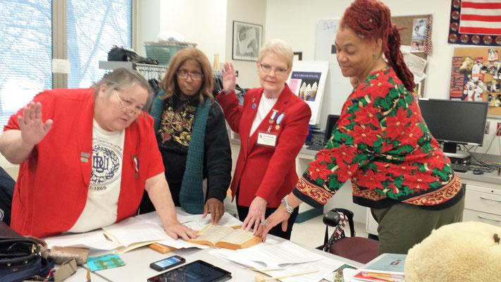 L-R:  Sis. Christie Peach, Senior Vice President and Treasurer; Sis.Tanya Jordan-Jackson, Patriotic Instructor; Sis. Nancy Skerchock, President; Sis. Jocelyn Bush, Chaplain