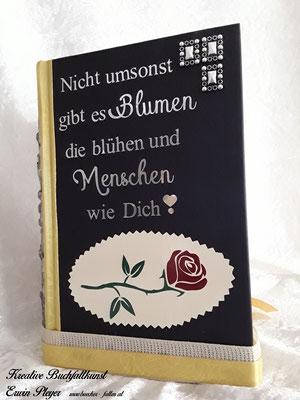 Foliencover mit tollem Spruch und einer wunderbaren Rose