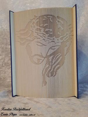 Jesus Christus als Portrait in fauler Faltung, ein Geschenk zur Erstkommunion, Taufe oder Geburt. Ein einmaliges gefaltetes Buch.