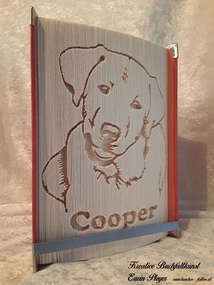 Der Labrador Cooper, ein wirklich netter Hund, in ein Buch gefaltet und zum Geburtstag verschenkt.