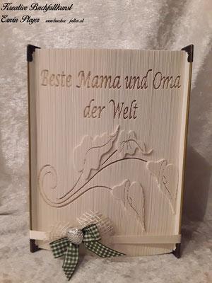 Zum Muttertag gibt es diese Callas und einen netten Spruch in einem gefalteten Buch.