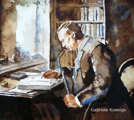Mein Urgroßvater in seinem Studierstübchen. Aquarell von Gabriele Koenigs (2009). Privatbesitz