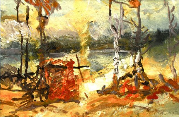 """""""Trehörnigen"""",2011,Acryl/Malkarton, 29x44"""