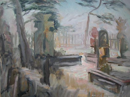 """""""Niddener Friedhof"""",2003, Öl/Leinwand, 50x60"""