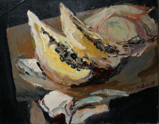 """""""Stillleben m. Papayas"""",2009,Acryl/Leinwand,40x50"""