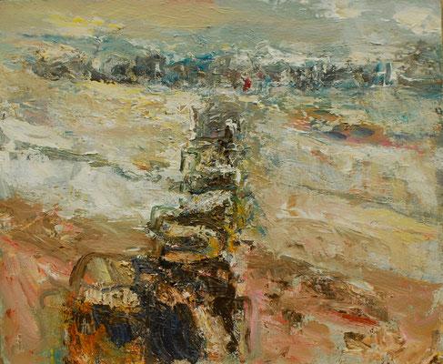"""""""Wellenbrecher"""",06/11, Acryl/Hartfaser,50x60"""
