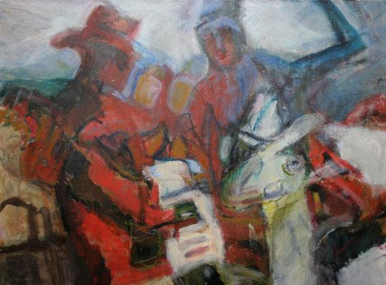 """Zwei Figuren m.Tieren"",2007,Acryl/Ölkreide/Leinwand,60x70"