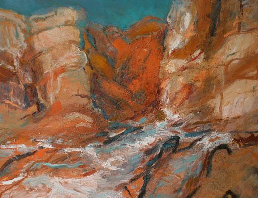 """Rote Felsen/Algarve"",2006,Mischtechnik/Leinwand, 80x100"