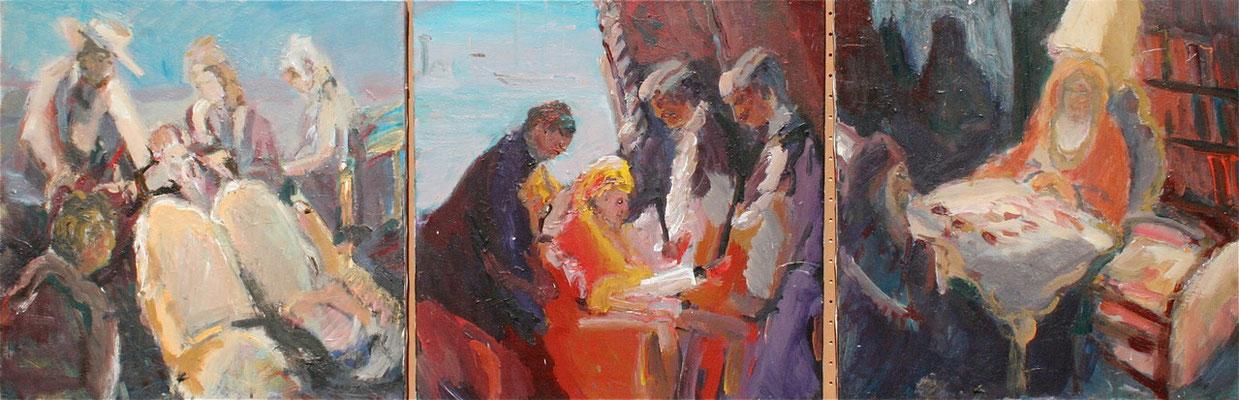 """Venezianische Saga"",2011,(Triptychon),Acryl/Leinwand, 50x150"