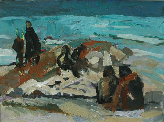 """Strandszene i.Sousse""(Tunesien),2005, Acryl/Malpapier,30x40"