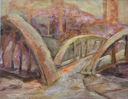 Brücken in der Speicherstadt - Mischtechniken