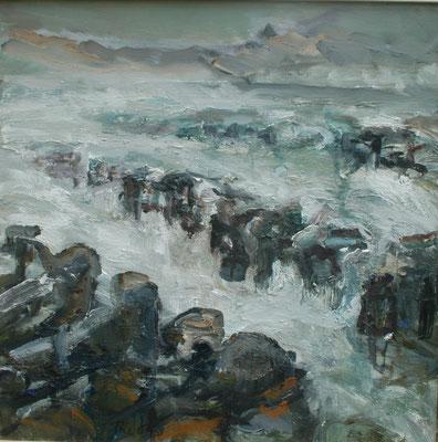 """Buhnen"" (Darß), 2003,Öl/Leinwand,50x50"