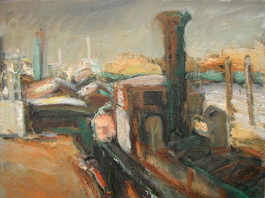 """""""Museumshafen Övelgönne"""",2003,Öl/Leinwand,50x60"""
