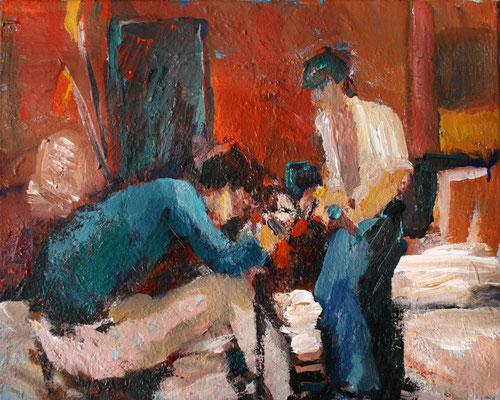 """""""Bei den Fischern"""",2006,Acryl/Karton,40x50"""