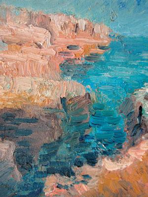 """Küste b.St.Tomas(Menorca),2002, 24x30,Öl/Malpappe"