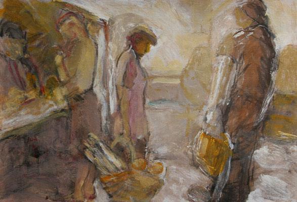 """""""Stille Marktszene"""",2007,Mischtechnik/Karton,28x36"""