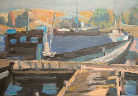 """""""Alter Hafen Gager"""",2004, Acryl/Hartfaser,50x60"""