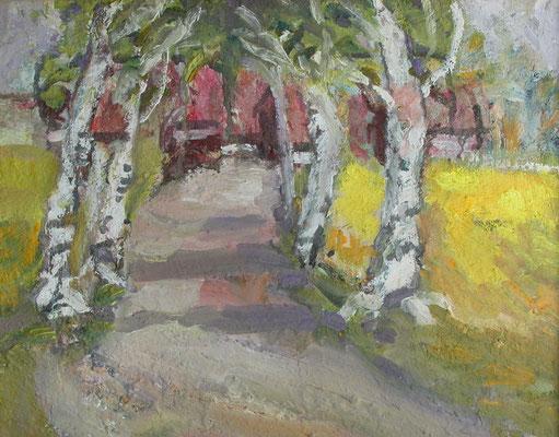 """""""Birkenallee mit Rapsfeld"""", 2004,Eitempera/Malpapier,40x50"""