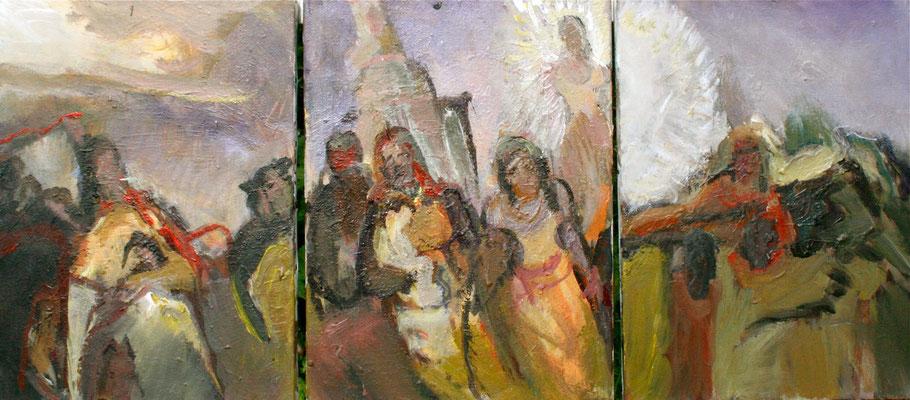 """Karneval a.T"";2011,(Triptychon), Acryl/Leinwand, 40x90"