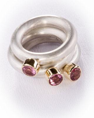 Ring von Urte Hauck, Hemmingen. Turmalin rosé, 759/-Gelbgold, 925/-Silber  VERKAUFT