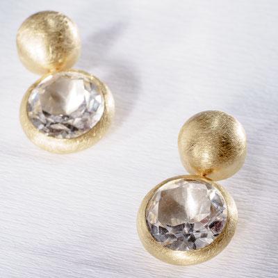 Ohrstecker von Urte Hauck, Hemmingen   Ohrstecker, Bergkristall / 750 / - Gelbgold / 925 / - Silber / 750 / - Gelbgoldvergoldung                VERKAUFT