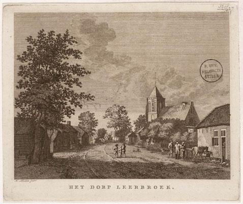 Het dorp Leerbroek - kopergravure door H. Schouten uit ca. 1775.