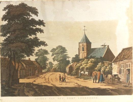 Gezigt van het dorp Leerbroek - ingekleurde litho uit 1820-1850.