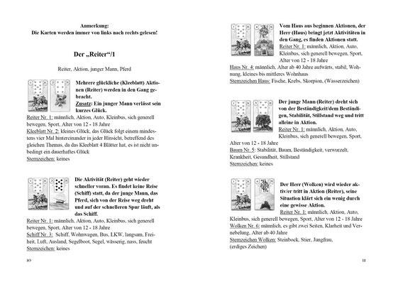 Leseprobe Lenormand Kombinationen, Karten legen